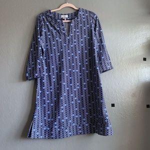 Jude Connally Kerry Dress Blue print sz. Large